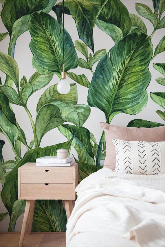 Banana Leaf Muur Muurschildering Bananen Bladeren Etsy Wallpaper Bedroom Discount Bedroom Furniture Dorm Room Decor