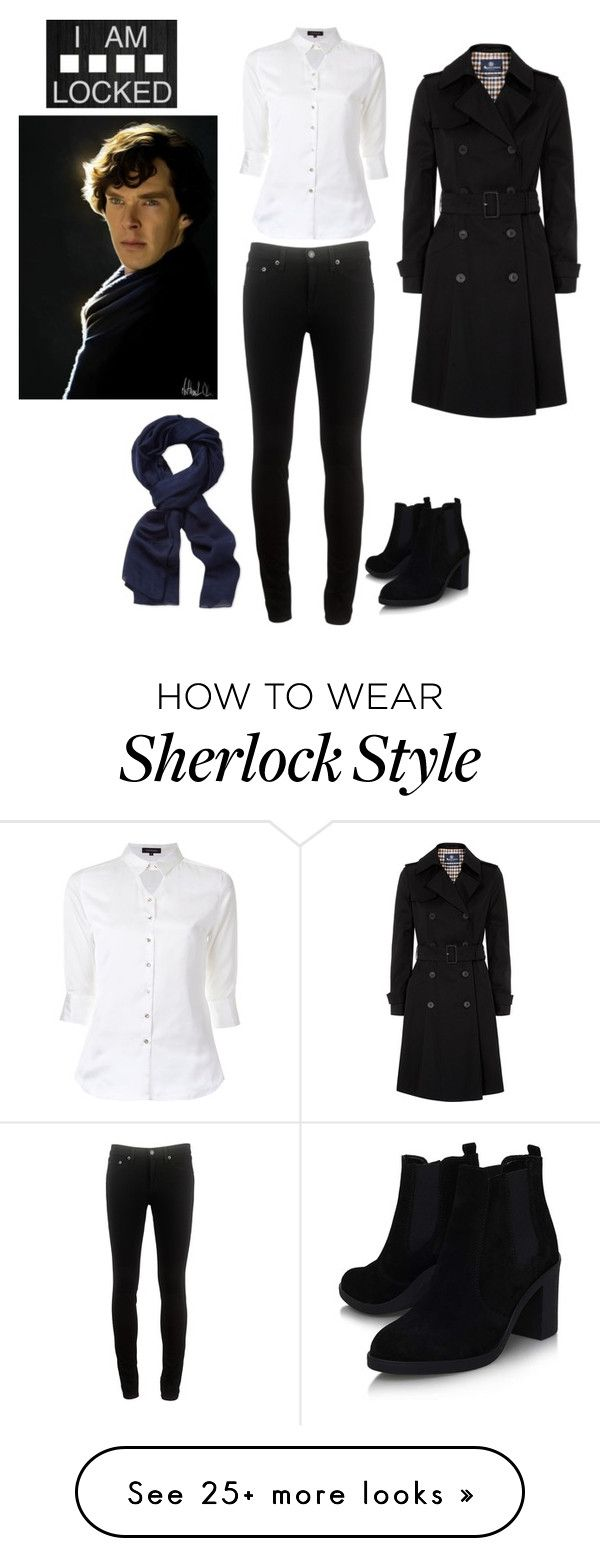 """Sherlock!"" by quata on Polyvore featuring Aquascutum, Loveless, rag & bone, Roberto Cavalli and Topshop"