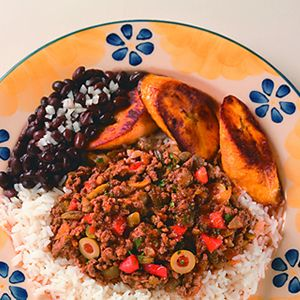 Cuban Picadillo, black beans and plantains!