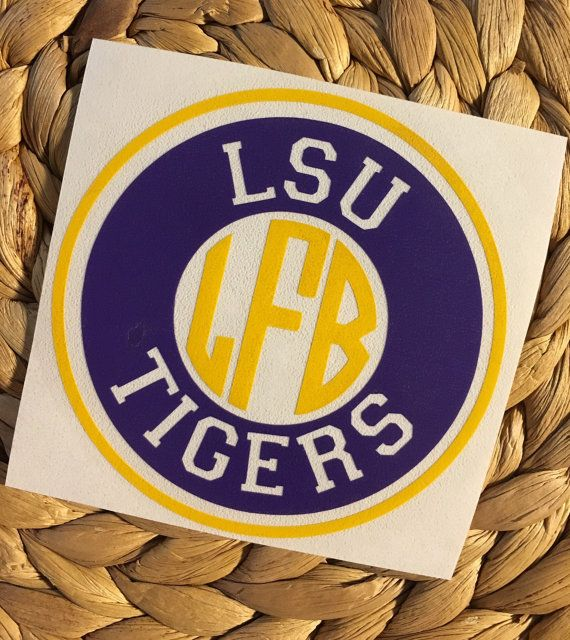 Cheer on your Louisiana State University tigers with this vinyl decal! Looks great on everything!! Style up your Yeti, Laptop, Car, Waterbottle or just about anything else!  Decal comes in Purple and Signal Yellow outdoor glossy vinyl as shown. You choose the size you would like and monogram style from drop down boxes.  ***IMPORTANT*** Leave me your initials in notes at checkout in this order 1. first name initial 2. last name initial 3. middle name initial  **You can make your decal in a…