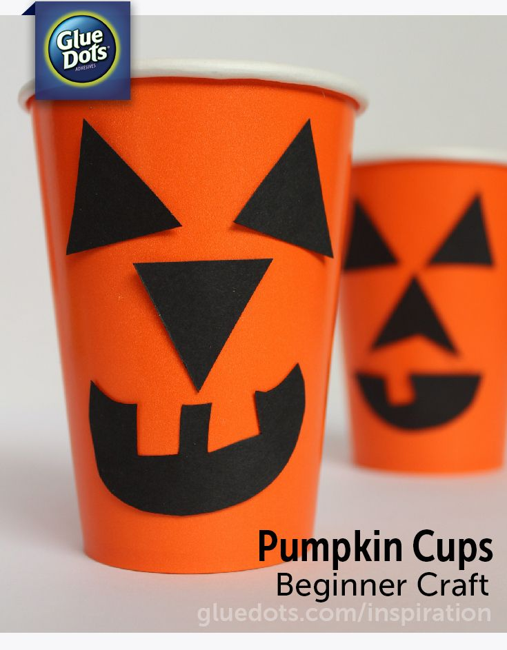Orange Cups + Black Paper Pieces + #GlueDots = Cute Halloween Party Ideas! Supplies available at #Walmart.