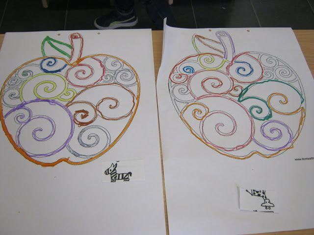 Leuke appels met krullen: laat de kleuters verschillende kleuren gebruiken met de dikke stiften.