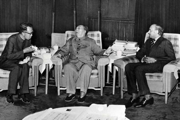 North Korea's Nuclear Arsenal Threatens China's Path to Power   -  September 5, 2017:The Chinese leader Mao Zedong, center, meeting with Zulfikar Ali Bhutto, right, the prime minister of Pakistan, in Beijing in 1976. The origins of North Korea's nuclear program can be traced to a deal that China and Pakistan reached that year.