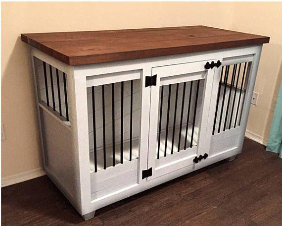 Custom White Dog Kennel Furniture Dog Crate Furniture Hinged