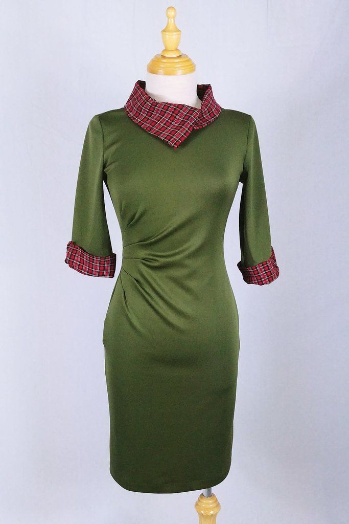 """Lucy"" Pencil dress in kaki and red checker"