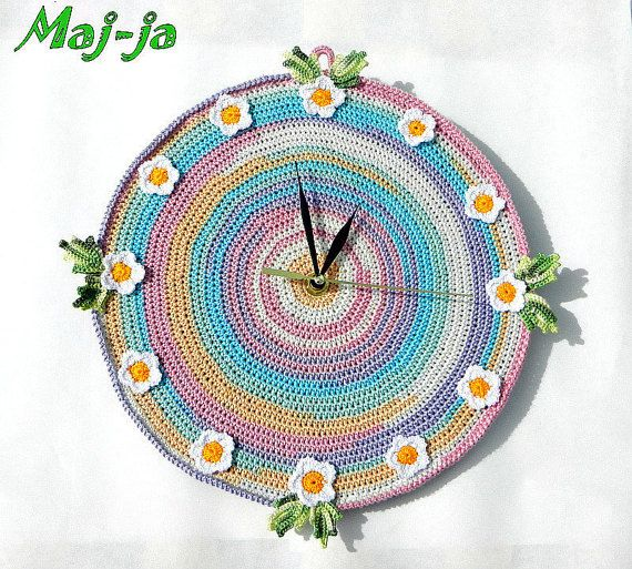 Unique crochet wall clock Summer time Handmade by MajjaCrochet