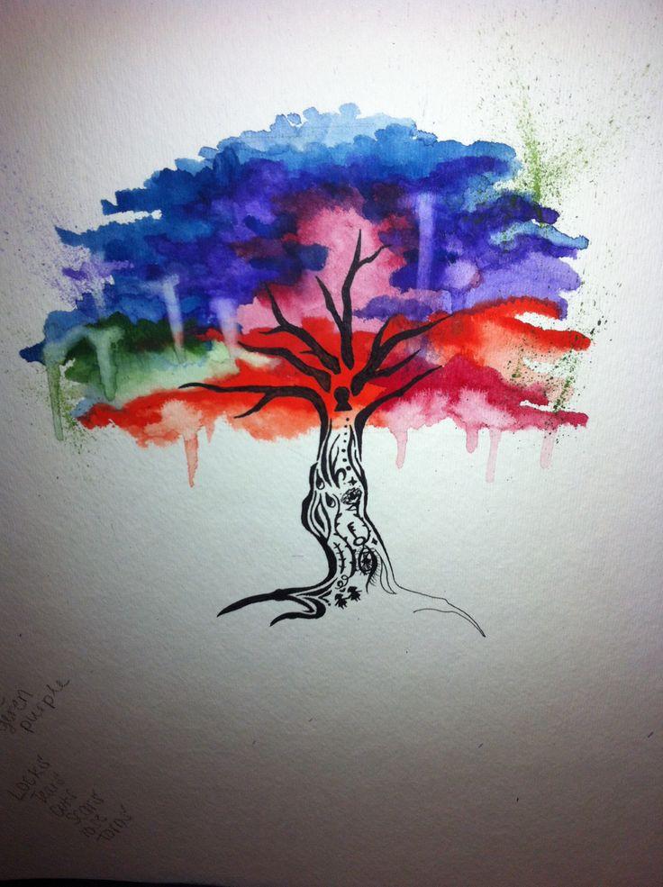 Tattoo idea watercolor tree tattoos pinterest for Tree of life watercolor tattoo