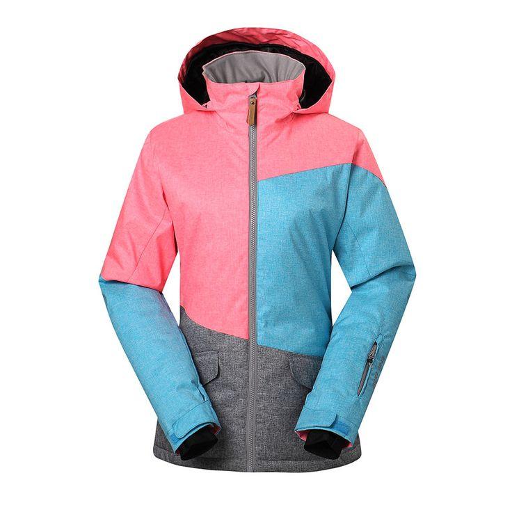 Female Outdoor Patchwork Snowboard Sport Jackets Gsou Snow Winter Women Ski Jacket Waterproof 10000 Breathable 10000 Warmth Coat #Affiliate