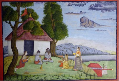 A noblewoman visiting a group of ascetics. Murshidabad, c. 1770 (British Library Add.Or.5607)