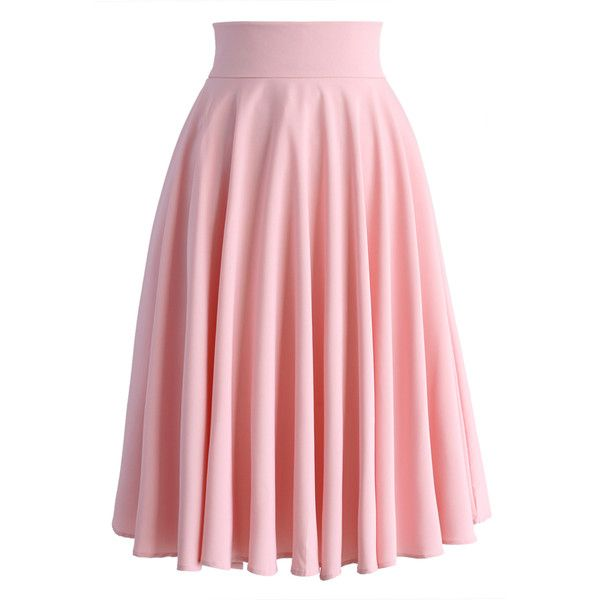 Chicwish Creamy Pleated Midi Skirt in Pink featuring polyvore, fashion, clothing, skirts, chicwish, pink, saias, pink pleated skirt, pink skirt, midi skirt, calf length skirts and red pleated skirt