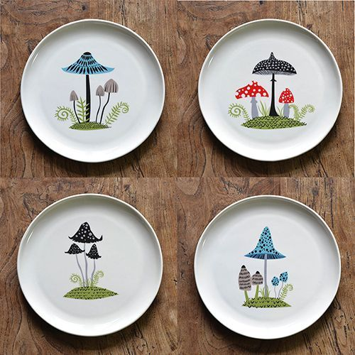 toadstool plate, toadstool design plate, hannah turner, retrotoadstool plates, mushroom plate