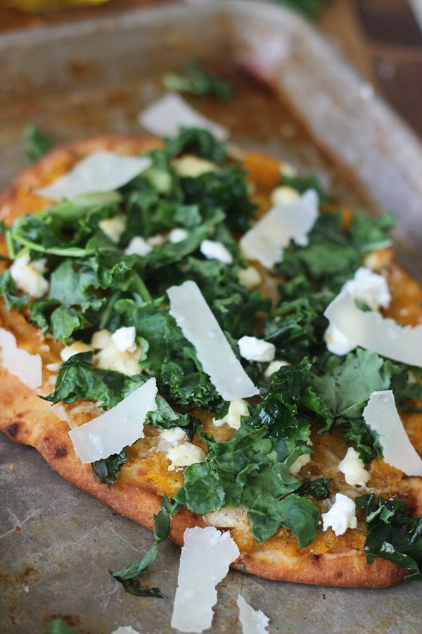 Butternut Squash and Kale Naan Pizzas with Pancetta and Goat Cheese ~ Easy and Healthy