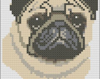 This pattern is of a lying down black Pug and uses 15 colours. The pattern size is 98 x 93 stitches. Each chart is printed over four pages and the colours are shown both as colour blocks and symbols for ease of use. This chart is sold by download only. Once payment is received you will receive the pattern as an email attachment.