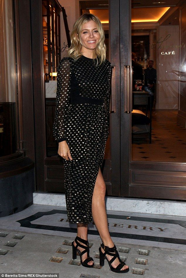 Blonde beauty: Sienna Miller, 34, looked typically chic in a black and gold dress as she h...