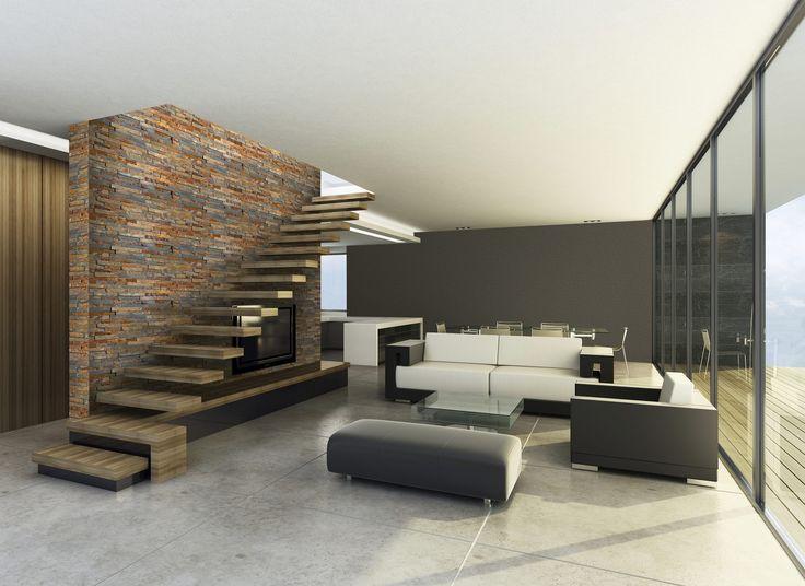 foorni.pl | KAMIEŃ NATURALNY RUSTY, kamienna ściana w salonie, nowoczesny salon,  producent: Stegu