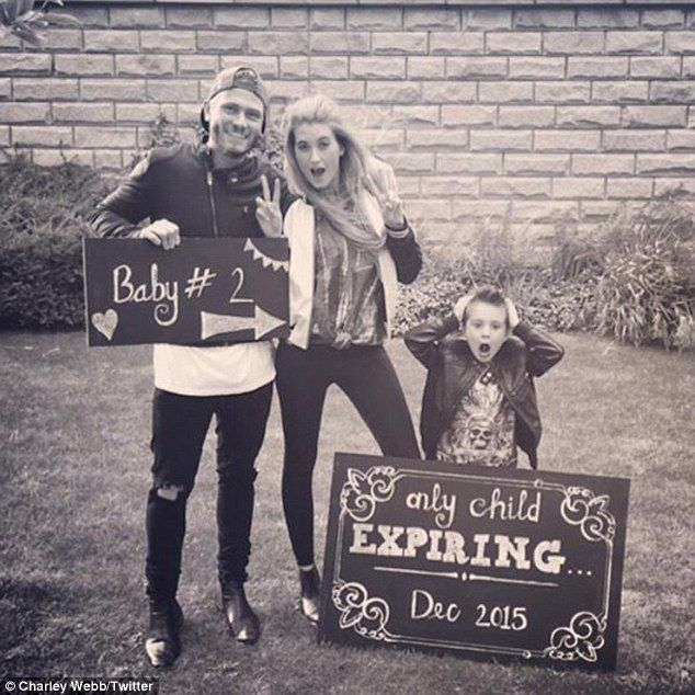 'Only child expiring December 2015': The soap stars announced their second pregnancy in June with this comical family photo