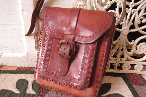 Vintage Leather Tooled Saddle Bag Mid by CreativeWorkStudios