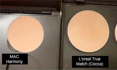 Mac harmony blush dupe/ L'oreal  true match powder foundation in Cocoa