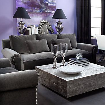 Velvet miles sofa at z gallerie styled so pretty Grey and purple living room