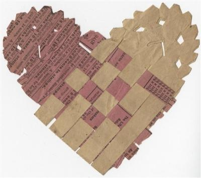 valentine sent to a confederate soldier made of paper & worked into a basket weave