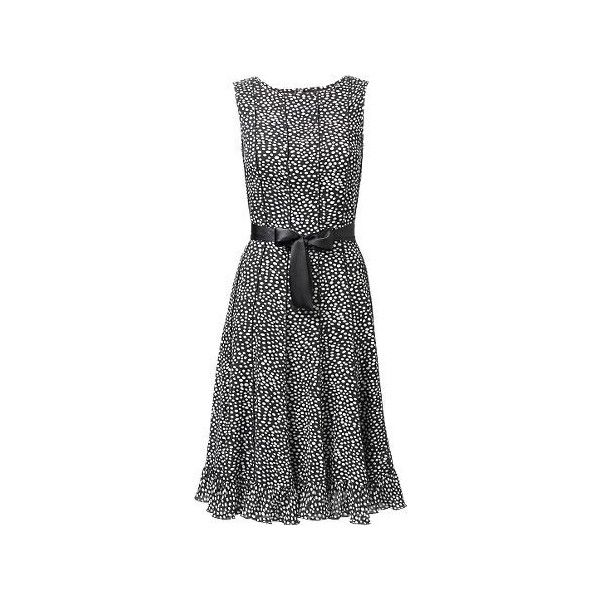 A-Line Smudge Spot Dress (2.305 RUB) ❤ liked on Polyvore featuring dresses, vestidos, smart dresses, keyhole back dress, a line silhouette dress, polka dot a line dress, double layer dress and polka dot dresses