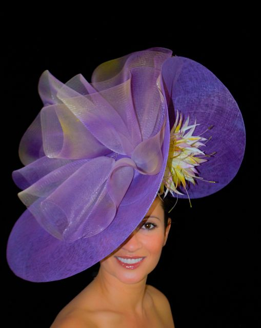 Large Purple Hat with Multi Toned Purple & Lemon Feathers and Crin. Colour Match Available.