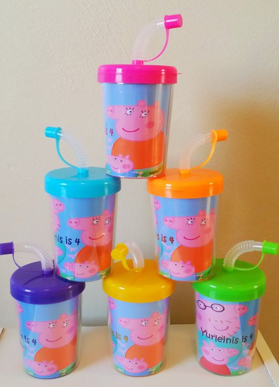 Package Includes: • 6 Peppa Pig Personalized Party Favor Sippy Cups • Inserts are printed on High Quality Photo Paper and laminated for