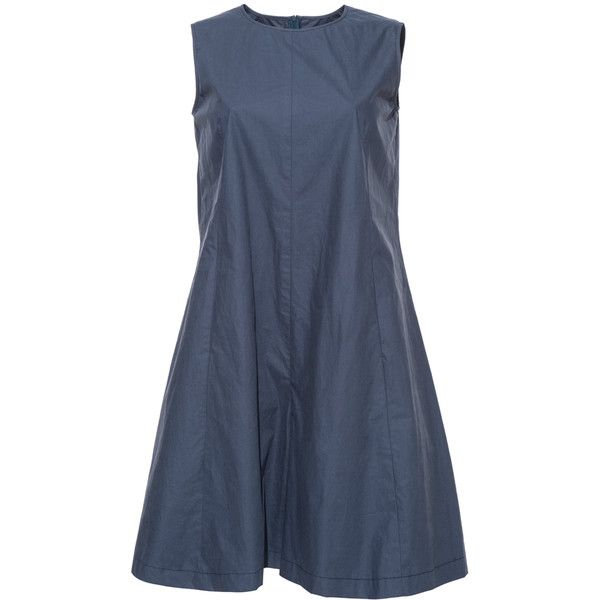 Blue Sleeveless A-Line Cotton Jumpsuit (690 MXN) ❤ liked on Polyvore featuring jumpsuits, blue jumpsuit, sleeveless jumpsuit, cotton jumpsuit, blue jump suit and jump suit