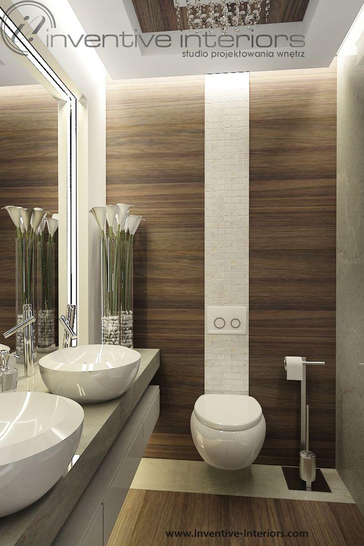 Projekt domu z widokiem Inventive Interiors - mała łazienka drewno, masa perłowa