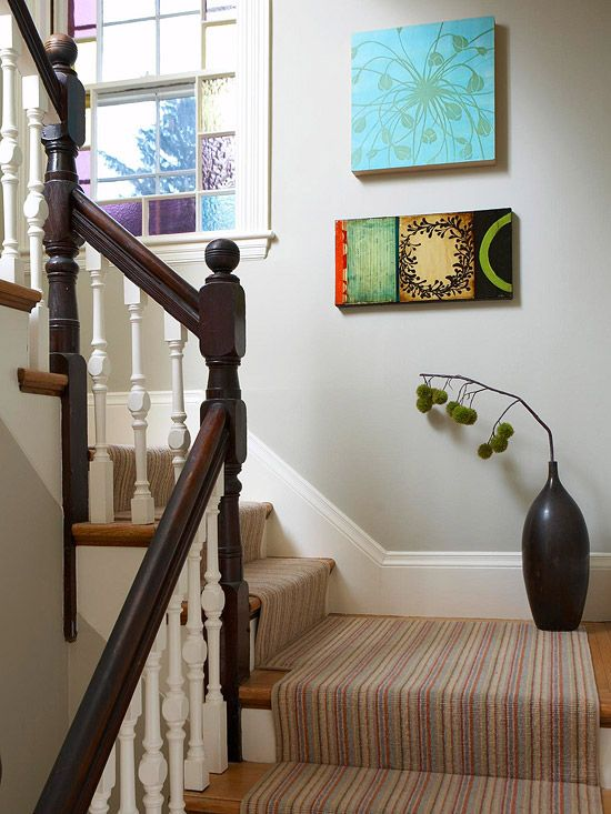 Bringing Style Upstairs. Like the mix of dark wood and white on the railings, and the carpet runner on the stairs.