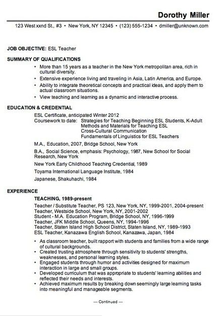 12 best Resume Examples 2013 images on Pinterest Php, Posts and - esl teacher resume samples