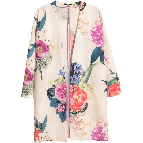H&M Patterned kimono ($30) ❤ liked on Polyvore featuring outerwear, coats, jackets, kimono, pink kimono, h&m, kimono coat, h&m coats y print coat