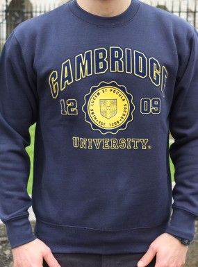 Flock Print Sweatshirt - official University branded clothing can be found in a variety of retailers in and outside Cambridge as well as online.