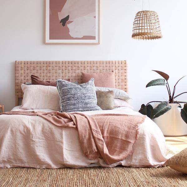 A C Flax Linen Duvet Dusky Pink Gold Bedroom Decor Bed Linens Luxury Bed Linen Design