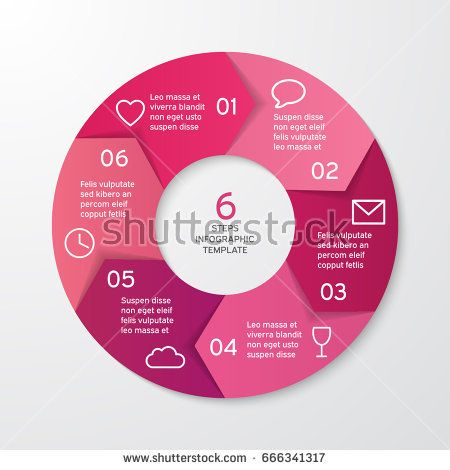 Circle arrows for infographics. Template for cycle diagram, options, graph, web design, presentation and round chart. Business concept with 6 steps. Abstract background. Vector illustration.