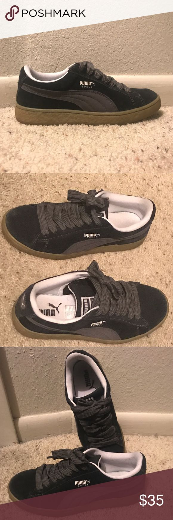 Classic Suede Pumas Classic suede Puma sneakers. Black with dark gray detail. EUC. Super comfortable. Puma Shoes Sneakers