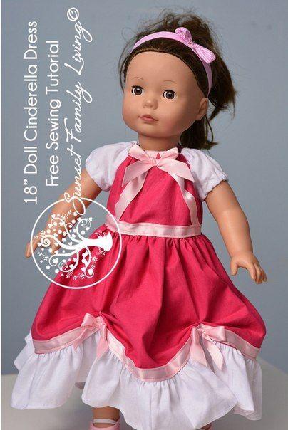 """Платье для Золушки<br><br>Для девочки и ее куклы размером 46 см или 18"""". На примере куклы Gotz с твердонабивным туловищем.<br><br>Ссылка на мастер-класс платья для куклы: http://www.sunsetfamilyliving.com/cinderellas-pink-dress-for-18-dolls-free-sewing-tutorial/<br>Ссылка на мастер-класс платья д.."""
