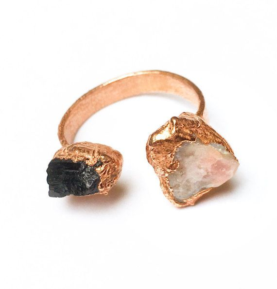 Hey, I found this really awesome Etsy listing at https://www.etsy.com/listing/279291918/evil-twin-raw-crystal-open-ring-pink