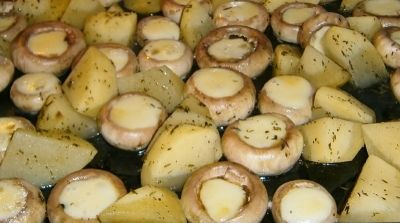 Baked mushrooms with cheese