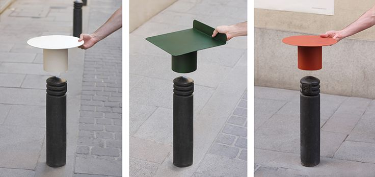 design studio teratoma productions' plug a set project features a collection of street furniture transforming bollards into temporary seats and tables.