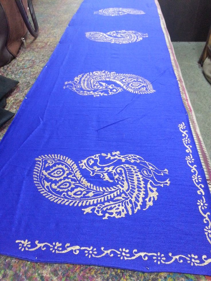 Royal Blue table runner with hand block printed Peacocks in gold