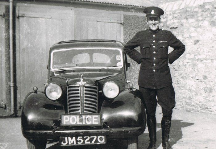 #Kendal Borough #Police #Constable Jim Little with an Austin 10 - the whole of the Traffic Department prior to amalgamation on 1 April 1947