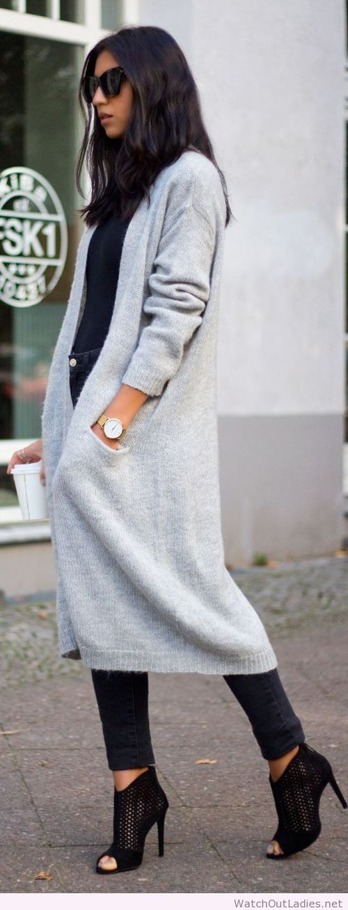 fabulous outfits with gray sweaters 15