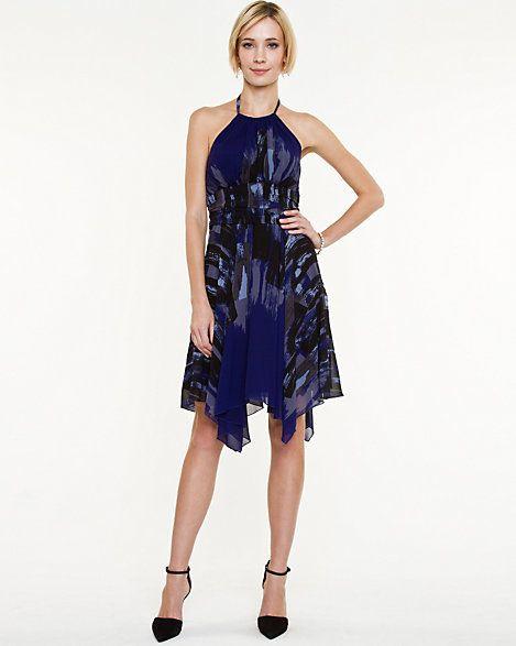 Abstract+Print+Halter+Dress