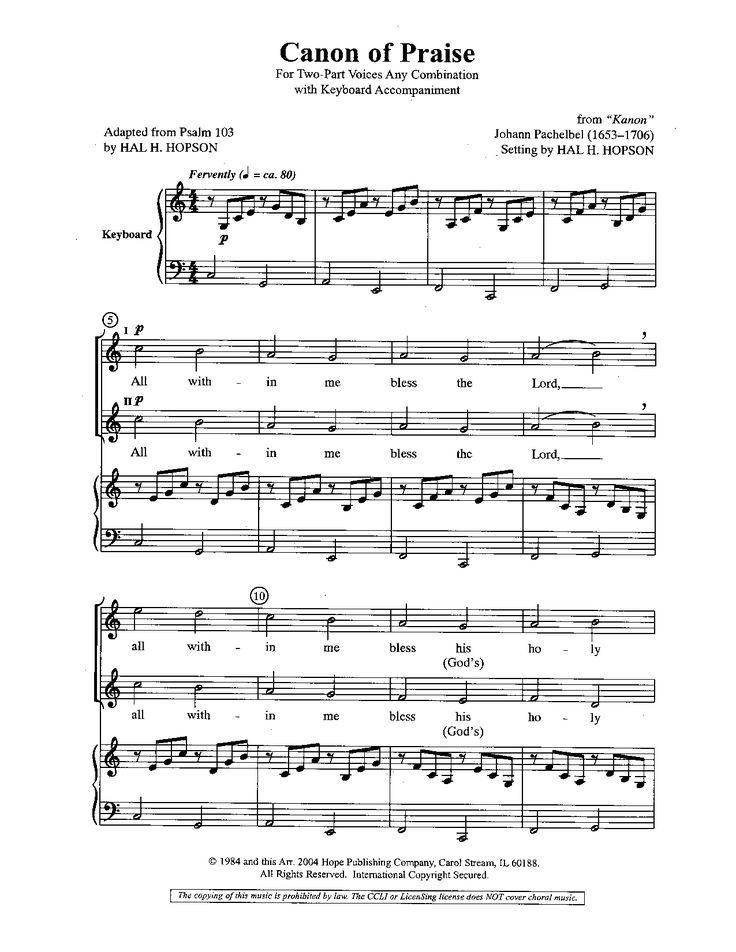 Canon of Praise (Two-Part) by Johann Pachel   J.W. Pepper Sheet Music