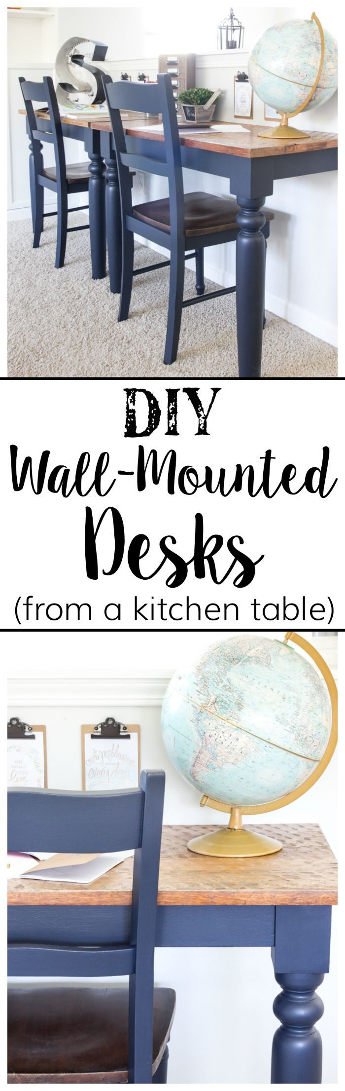 Repurposed Kitchen Table Turned Wall-Mounted Desks   blesserhouse.com - How to use a repurposed kitchen table to cut in half and make wall-mounted desks for a playroom makeover with Fusion Mineral Paint Midnight Blue. #sponsored popular pin