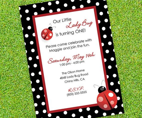 Lady Bug Birthday Invitation