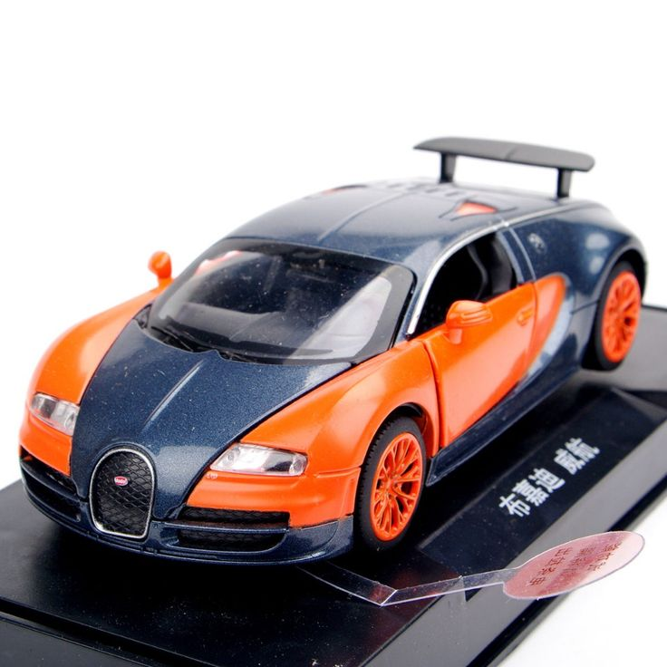 Mini Multicolor Red / Orange 1:32 Bugatti Veyron Alloy Diecast Car Model Pull Back Toy Cars With Light&Sound Kids Toys Gifts