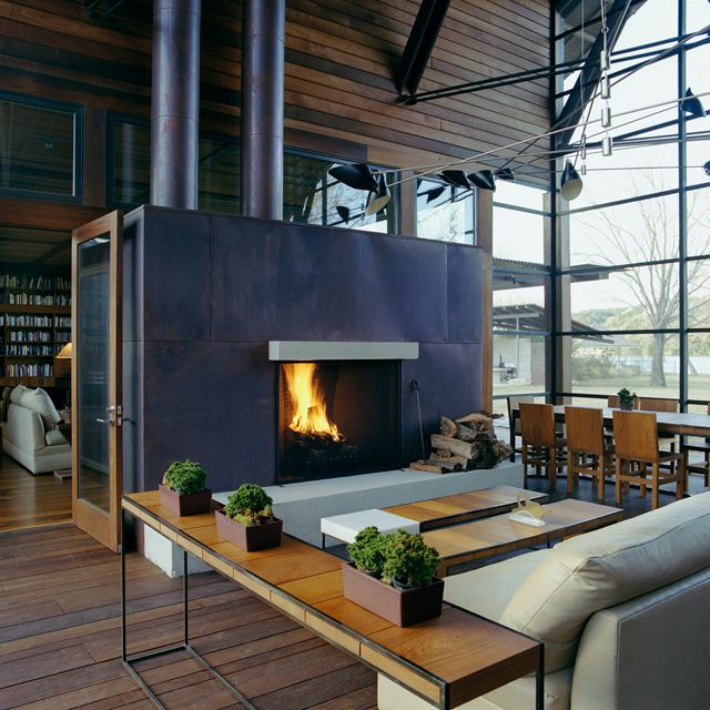 Interior Fire Place Lake Austin House By Flato Architects