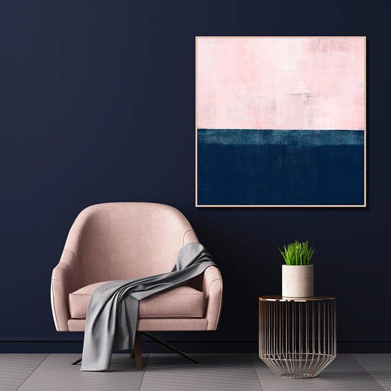 Pink and Navy Blue Abstract Art Pink Wall Art Pink Painting